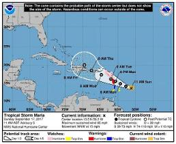 카리브해 끝나지 않는 악몽…또다른 허리케인 마리아 4등급까지 세력 키울 듯
