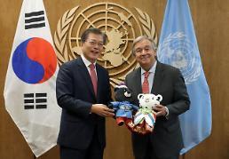 문 대통령, 구테흐스 유엔사무총장 만나 북핵 평화적 해결 강조