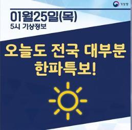 [오늘날씨 카드뉴스] 오늘도 전국 대부분 맑고 한파특보!, 아침기온 -15도 종일 영하권 체감온도 뚝