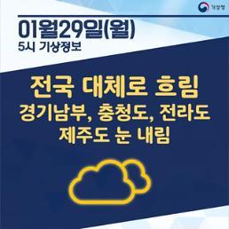 [오늘날씨 카드뉴스]전국 대체로 흐리고 한파특보 발효 중... 경기남부, 충청도, 전라도, 제주도 눈 내림