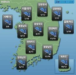 [오늘의 날씨 예보] 비 낮 대부분 그치지만 황사 온다…미세먼지농도 WHO기준 나쁨~매우나쁨