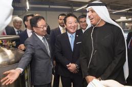 UAE 국왕, 코오롱 마곡 신사옥 방문…인보사 기술 극찬