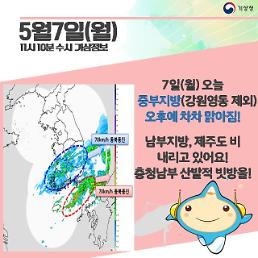 [오늘날씨 카드뉴스]중부 맑고 초여름날씨, 남부(돌풍,천둥·번개), 제주도 비···충청 산발적 빗방울