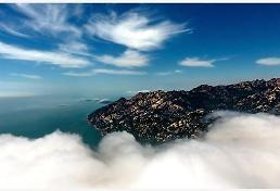 [중국포토] 구름 속 바다와 푸른 산, 드론이 찍은 칭다오 절경