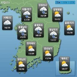 [오늘의 날씨 예보] 중부내륙 최대 30mm 소나기…미세먼지 농도 WHO 기준 보통