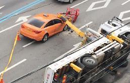 [포토] 택시 덮친 크레인