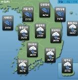 [오늘의 날씨 예보] 전국 곳곳 소나기, 최고 70mm까지…낮 최고 36도로 폭염은 계속될 듯