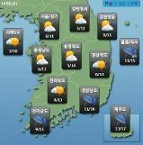 [오늘의 날씨 예보] 미세먼지 나쁨, 아침 영하 1도까지 일교차 주의…제주도 최고 40mm 비