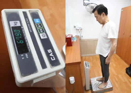 [포토] 몸무게 재는 손학규