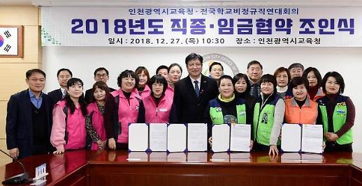 인천시교육청, 전국학교비정규직연대회의와  2018년도 임금협약 체결