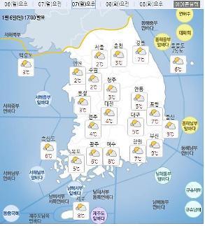 [날씨]전국 미세먼지 '나쁨'..아침 최저-14도, 낮 최고9도..오후부터 구름 많아져