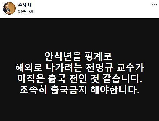 손혜원 의원 조재범 뒤에 전명규 있다…조속히 출국금지 해야