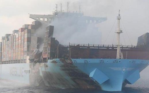 현대중공업, 불에 탄 머스크 선박 수리 맡는다
