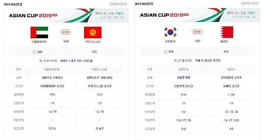 [아시안컵] UAE-키르기스스탄·한국-바레인, 22일 16강…한국전 중계는 JTBC