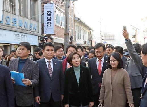 [포토] 목포 창성장 찾은 한국당