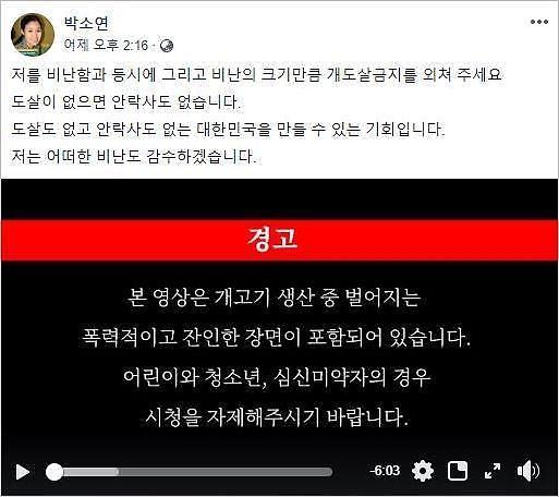 안락사 논란 박소연 대표, 페이스북에 개 도살 동영상 게재 파문