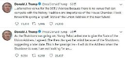 한 발 물러선 트럼프, 국정연설 연기하겠다..펠로시와 신경전 일단락