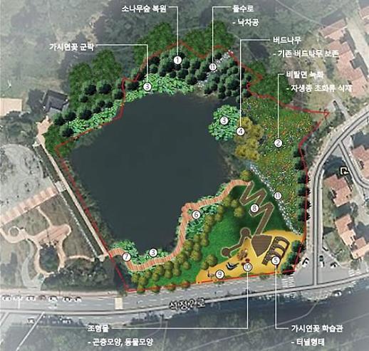 석정온천지구 호수, 가시연꽃 서식처 조성 등 생태휴식공간으로 변모한다