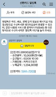 """""""체크카드 신용카드 결제 알림도 카카오톡으로"""""""