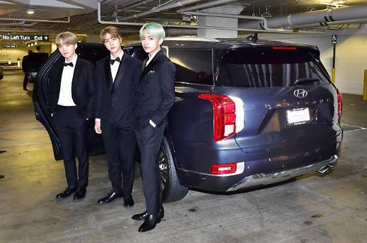 BTS 슈가·진·뷔, 현대차 팰리세이드 옆 찰칵