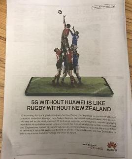 화웨이 우리 5G 장비 안쓰면 소비자 피해...신문에 전면광고