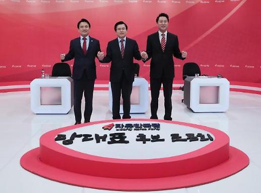 [포토] 손 마주잡은 김진태-황교안-오세훈