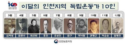 인천보훈지청, 「이달의 인천지역 독립운동가 10인」 선정