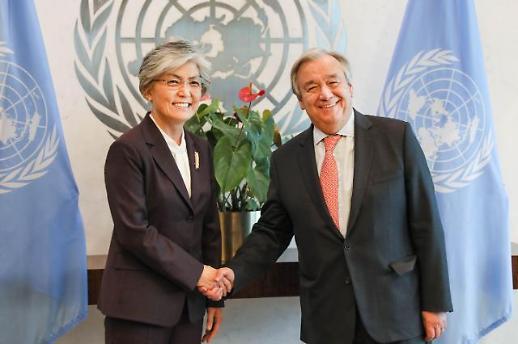 강경화, 美서 유엔 사무총장과 면담…한반도 평화구축 노력 지지 당부