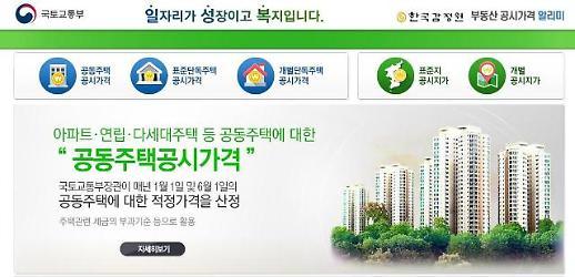 국토부 부동산공시가격 알리미, 아파트 주택 등 개별 공시지 확인