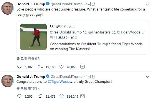 트럼프도 타이거 우즈에 축하…진정한 챔피언