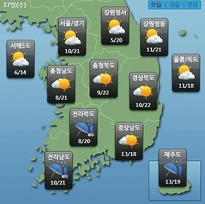 [오늘의 날씨 예보] 낮 기온 25도, 남해안·제주도 5mm 미만 비…미세먼지 보통