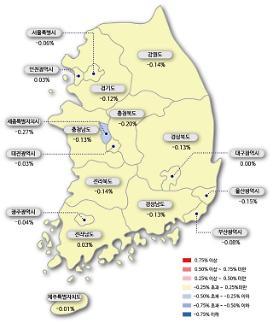 서울 아파트값 23주 연속 하락…일부 급매물 소화로 낙폭은 둔화
