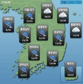 [오늘의 날씨 예보] 미세먼지 나쁨, 전국 비 최고 50mm…낮 최고 25도