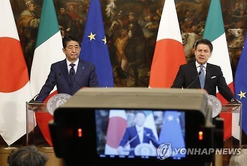 완전한 북한 비핵화 위해 협력 아베ㆍ이탈리아 총리 환담