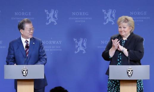 文대통령, 노르웨이 총리와 정상회담...수소경제·조선 협력