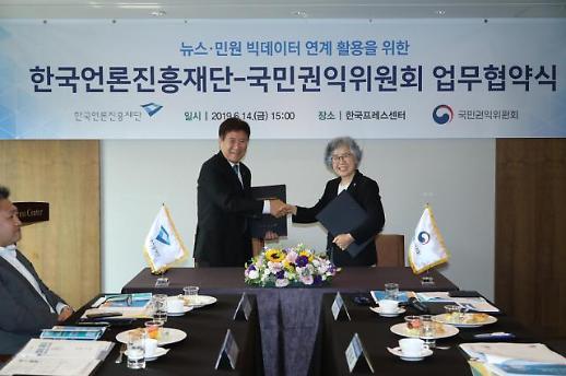 한국언론진흥재단·국민권익위원회, 뉴스·민원 빅데이터 연계 활용을 위한 업무협약 체결