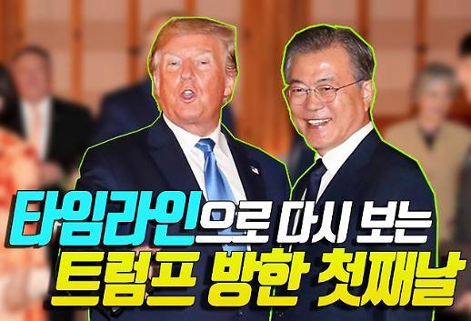[영상] 타임라인으로 다시 보는 트럼프 방한 첫째날…'트럼프-김정은 DMZ 만남 성사될까'