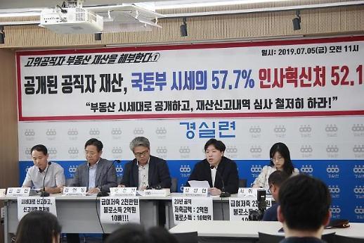 경실련 국토부·인사혁신처 고위 공무자 부동산 신고가액, 시세 57% 그쳐