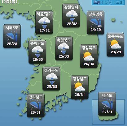 [오늘의 날씨 예보] 태풍 레끼마 영향 서울·수원·평택·홍천 등 비…태풍의 현재 위치는?