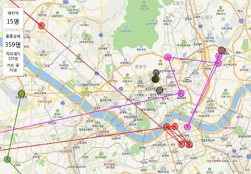 [확진자 15명 이동경로] 서울·부천·수원·군산 등 수도권 뒤덮은 신종 코로나