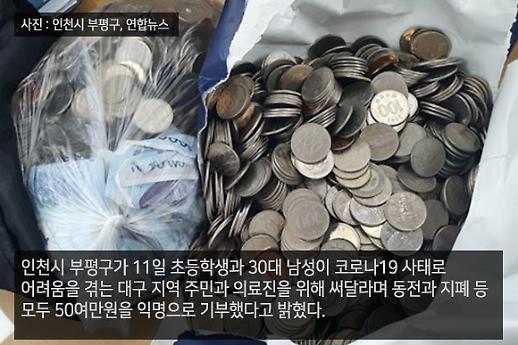[코로나19 PIC] 동전 뭉치까지... 마음 따뜻한 시민들의 기부 손길