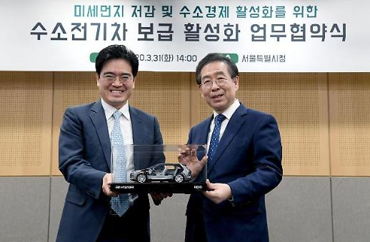 현대차-서울시, 수소전기차 보급 위해 맞손…상호협력 MOU 체결