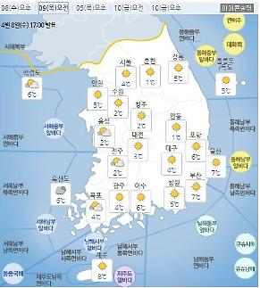 [내일날씨] 아침 최저기온 '영하 1도'…강원산지엔 눈