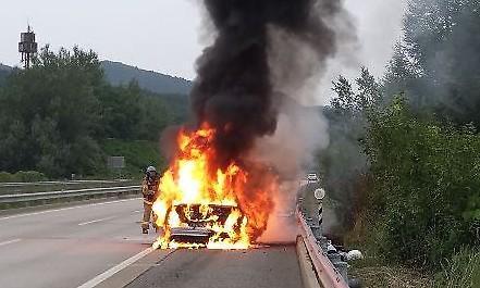 [포토] 중앙고속도로에서 벤츠 화재