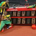<伦敦奥运>牙买加队男子4X100米接力卫冕
