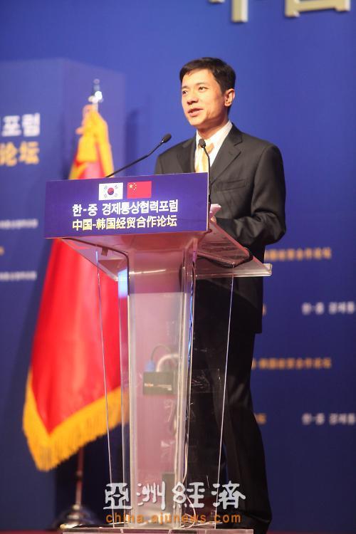 百度總裁李彥宏在中韓經貿合作論壇上發言[攝=林芳浚圖片