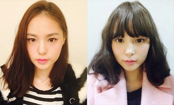 公开的照片中闵孝琳的一头长直发变为及肩刘海