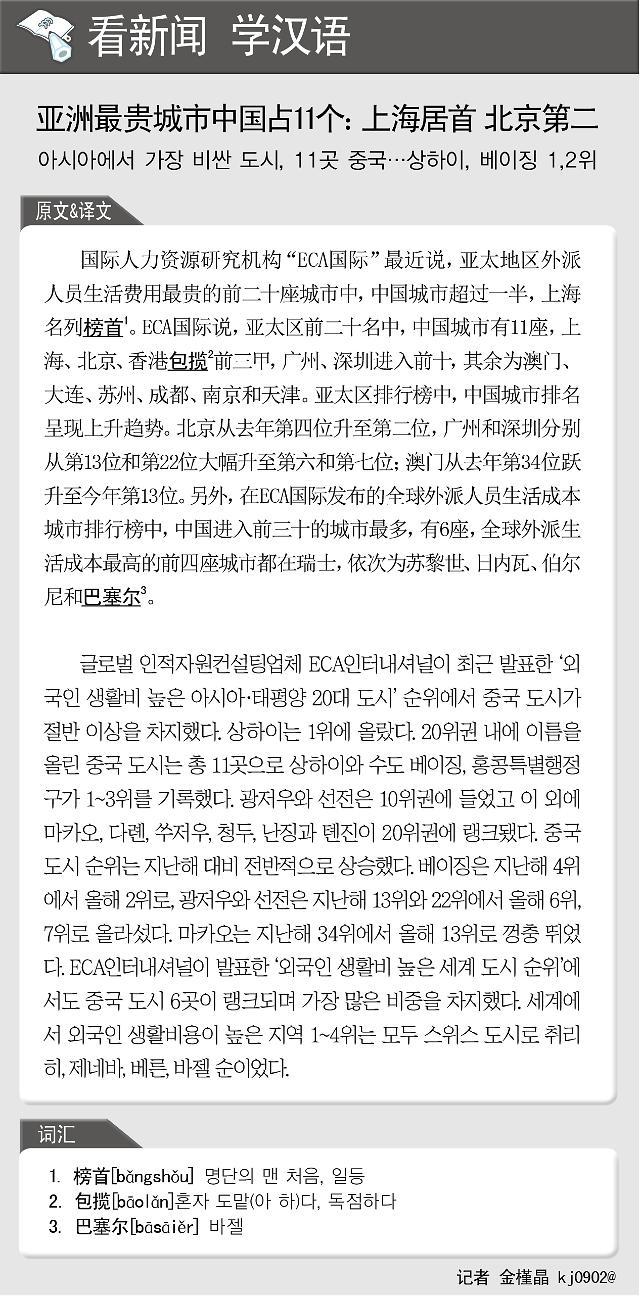 [看新闻学汉语] 亚洲最贵城市中国占11个:上海居首 北京第二