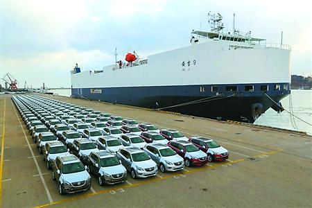 中国产别克首次反向出口美国 上汽通用SUV装船启程发运