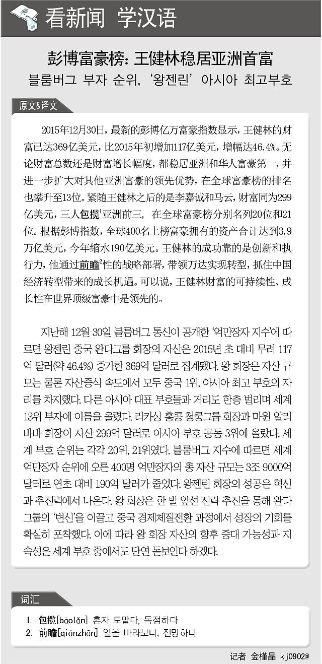 [看新闻学汉语] 彭博富豪榜:王健林稳居亚洲首富